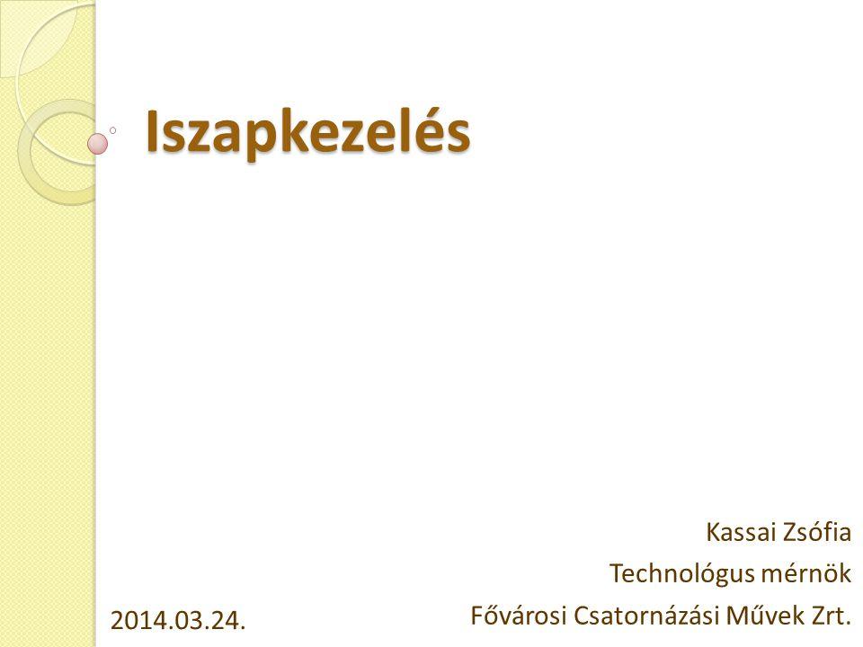 Iszapkezelés Kassai Zsófia Technológus mérnök Fővárosi Csatornázási Művek Zrt. 2014.03.24.