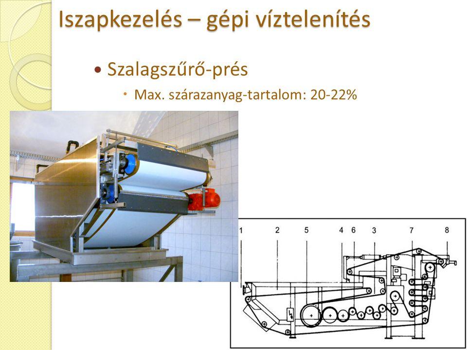 Iszapkezelés – gépi víztelenítés Szalagszűrő-prés  Max. szárazanyag-tartalom: 20-22%