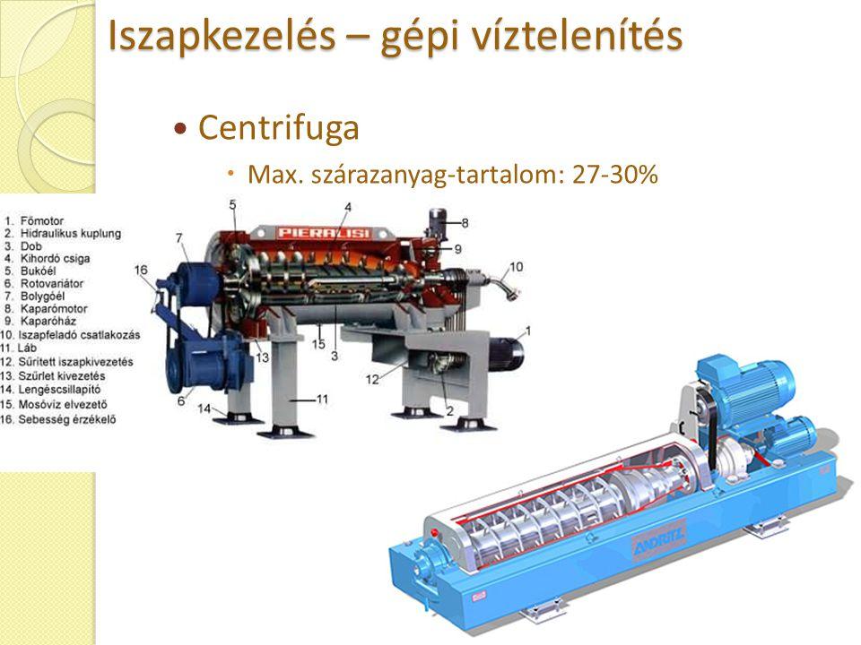 Iszapkezelés – gépi víztelenítés Centrifuga  Max. szárazanyag-tartalom: 27-30%