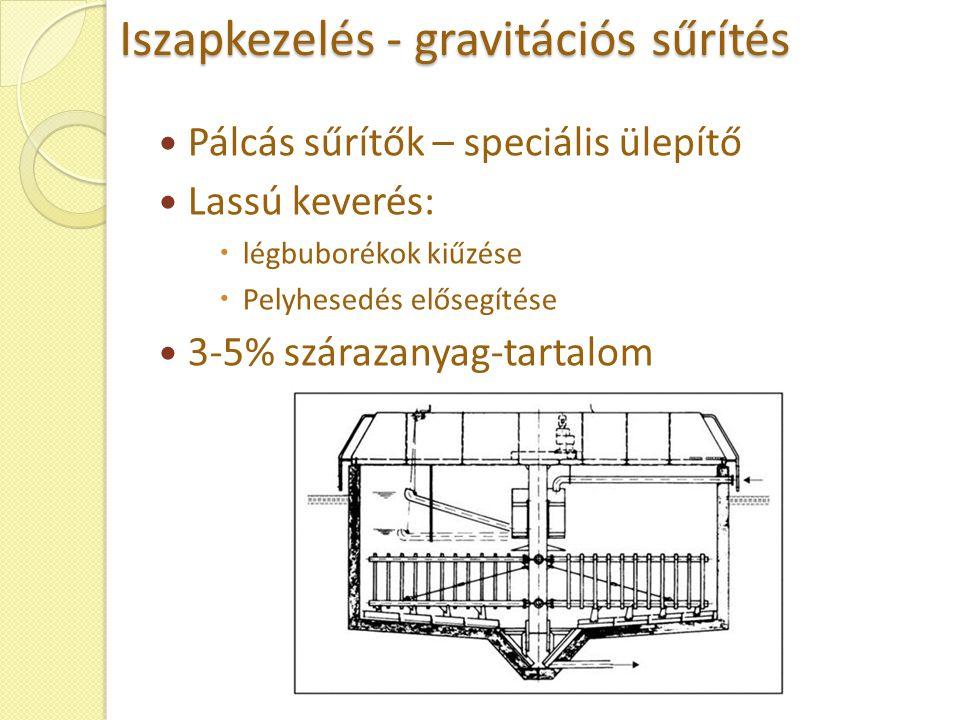 Iszapkezelés - gravitációs sűrítés Pálcás sűrítők – speciális ülepítő Lassú keverés:  légbuborékok kiűzése  Pelyhesedés elősegítése 3-5% szárazanyag