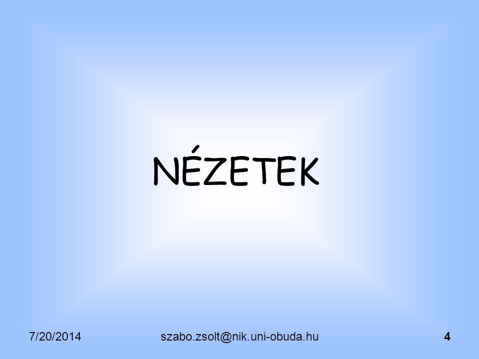 """7/20/2014szabo.zsolt@nik.uni-obuda.hu5 NÉZETEK CREATE VIEW {NÉV} AS {ALLEKÉRDEZÉS}; CREATE [OR REPLACE] …; DROP VIEW; Allekérdezések elkerüléséhez, illetve rövidítéséhez használható  """"Modularizált , részekre bontható lekérdezések  Áttekinthetőbb lekérdezések  Egy nézet egy konkrét feladatra (rész-lista létrehozására), ami később újra felhasználható  Normalizálás előtti állapot (join eredmény) mentése"""