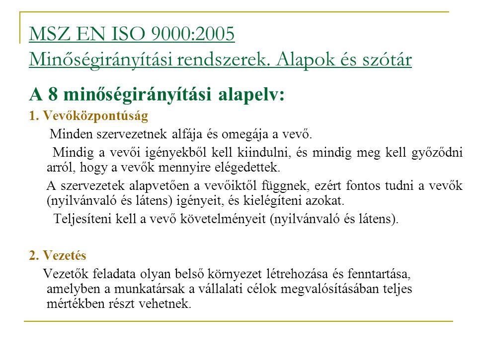 MSZ EN ISO 9000:2005 Minőségirányítási rendszerek. Alapok és szótár A 8 minőségirányítási alapelv: 1. Vevőközpontúság  Minden szervezetnek alfája és