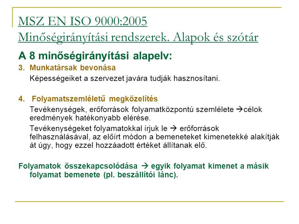 MSZ EN ISO 9000:2005 Minőségirányítási rendszerek. Alapok és szótár A 8 minőségirányítási alapelv: 3.Munkatársak bevonása Képességeiket a szervezet j