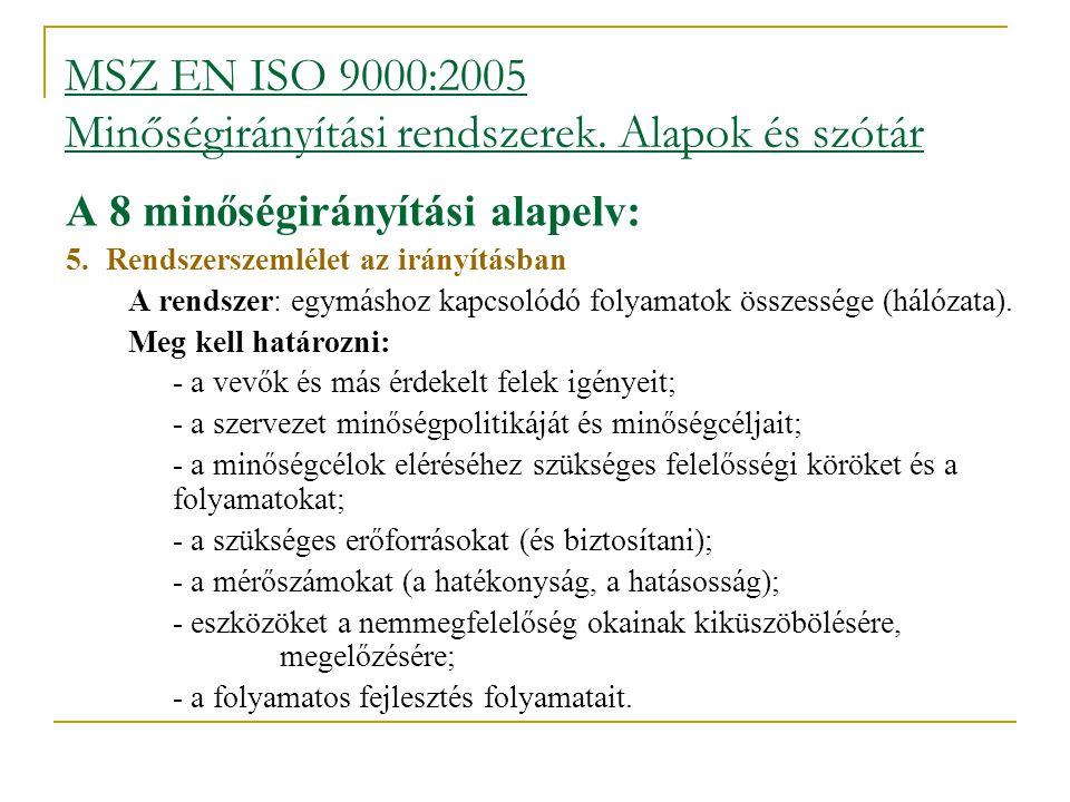 MSZ EN ISO 9000:2005 Minőségirányítási rendszerek. Alapok és szótár A 8 minőségirányítási alapelv: 5.Rendszerszemlélet az irányításban  A rendszer: e