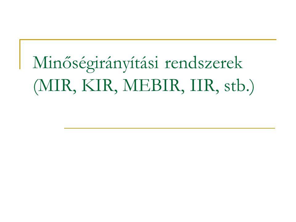 Minőségirányítási rendszerek (MIR, KIR, MEBIR, IIR, stb.)