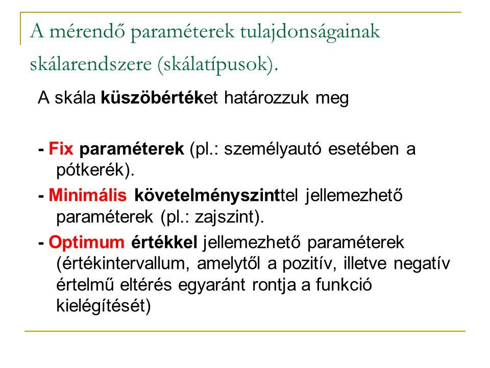 A mérendő paraméterek tulajdonságainak skálarendszere (skálatípusok). A skála küszöbértéket határozzuk meg - Fix paraméterek (pl.: személyautó esetébe