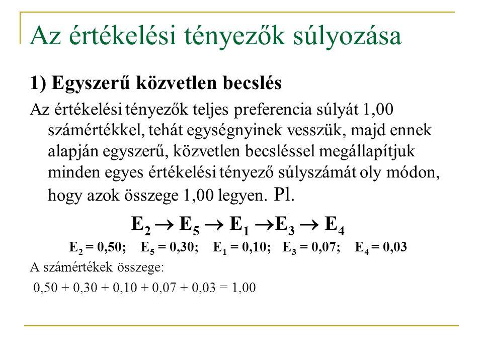 Az értékelési tényezők súlyozása 1) Egyszerű közvetlen becslés Az értékelési tényezők teljes preferencia súlyát 1,00 számértékkel, tehát egységnyinek
