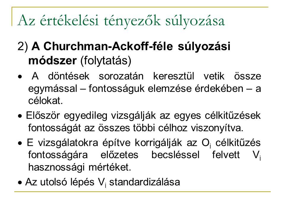 Az értékelési tényezők súlyozása 2) A Churchman-Ackoff-féle súlyozási módszer (folytatás)  A döntések sorozatán keresztül vetik össze egymással – fon