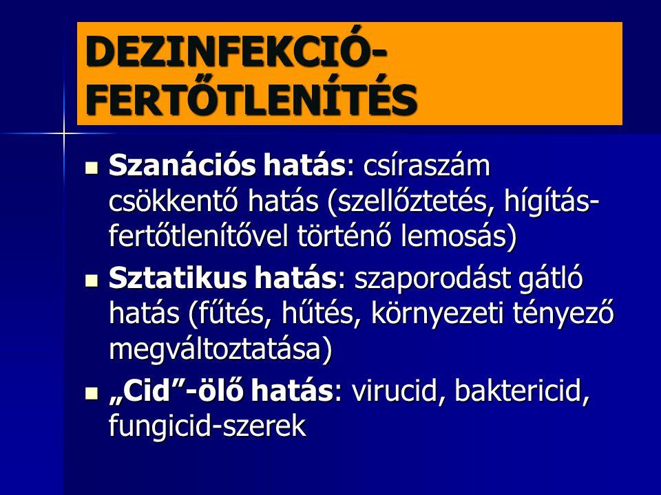 DEZINFEKCIÓS ELJÁRÁSOK Fizikai eljárások: UV sugárzás, hőmérséklet változtatás Fizikai eljárások: UV sugárzás, hőmérséklet változtatás Kémiai eljárás: dezinficiens anyagok alkalmazása: formaldehid, formalin (formaldehid 35-40%-os vizes oldata) Kémiai eljárás: dezinficiens anyagok alkalmazása: formaldehid, formalin (formaldehid 35-40%-os vizes oldata) Kombinált eljárás: kémiai anyag+hőhatás Kombinált eljárás: kémiai anyag+hőhatás Dezinfekció folyamata: preventív, folyamatos, záró Dezinfekció folyamata: preventív, folyamatos, záró