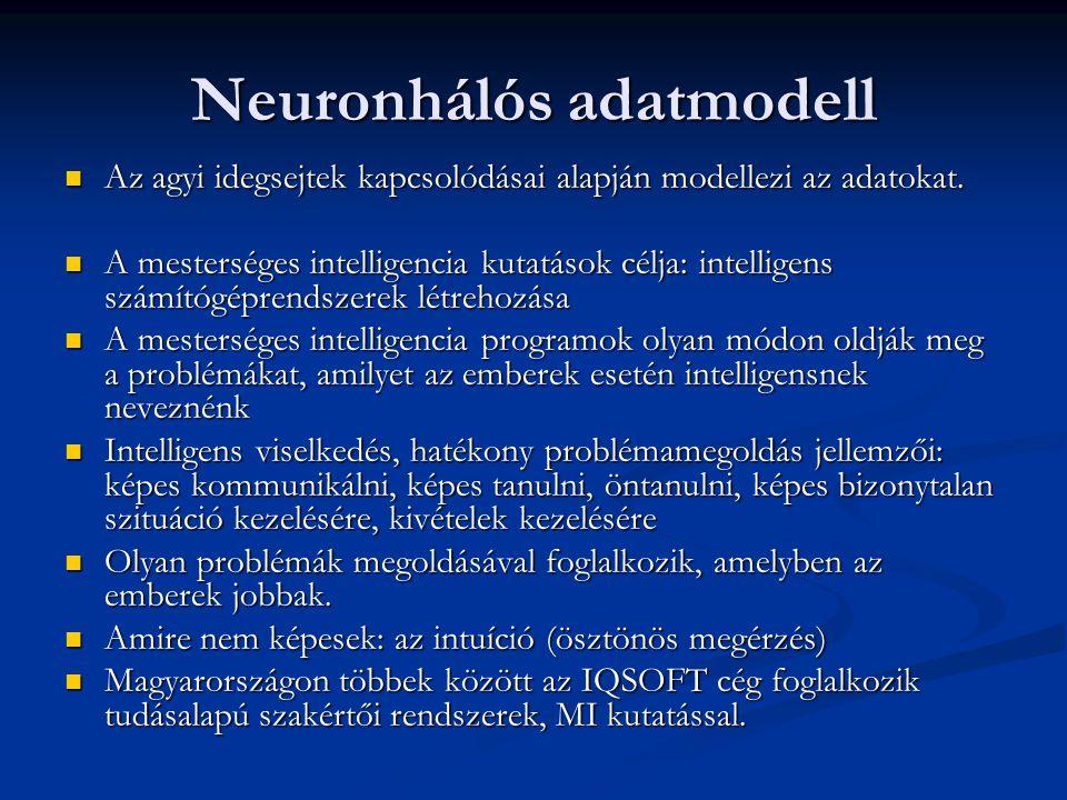 Neuronhálós adatmodell Az agyi idegsejtek kapcsolódásai alapján modellezi az adatokat.