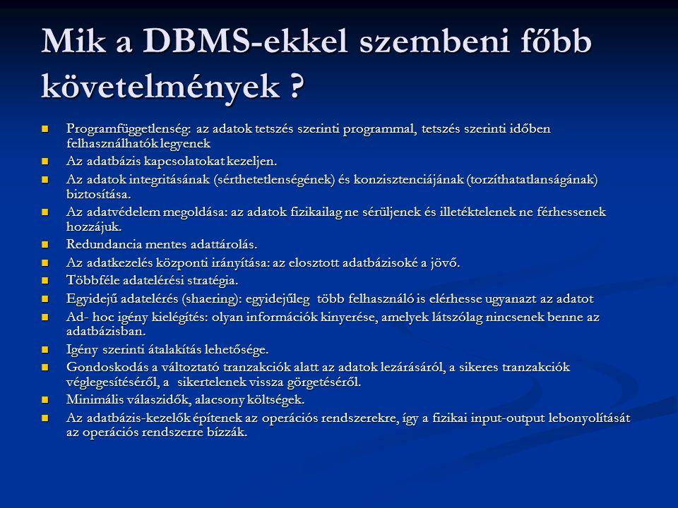 Mik a DBMS-ekkel szembeni főbb követelmények .