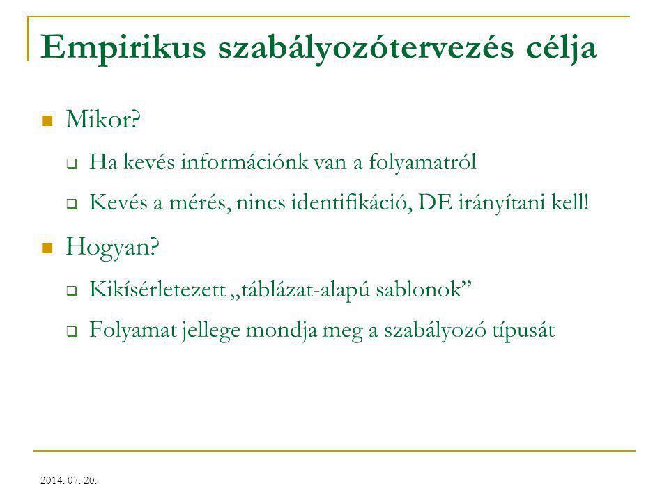 2014. 07. 20. Empirikus szabályozótervezés célja Mikor?  Ha kevés információnk van a folyamatról  Kevés a mérés, nincs identifikáció, DE irányítani