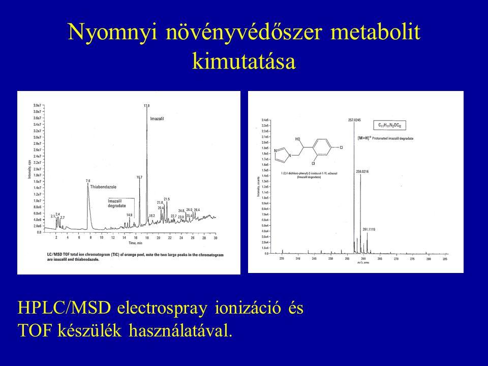 Nyomnyi növényvédőszer metabolit kimutatása HPLC/MSD electrospray ionizáció és TOF készülék használatával.