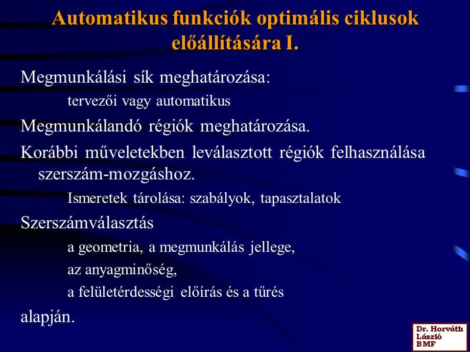 Automatikus funkciók optimális ciklusok előállítására I. Megmunkálási sík meghatározása: tervezői vagy automatikus Megmunkálandó régiók meghatározása.
