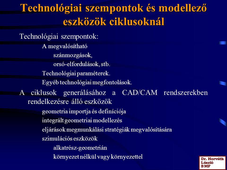 Technológiai szempontok és modellező eszközök ciklusoknál Technológiai szempontok: A megvalósítható szánmozgások, orsó-elfordulások, stb. Technológiai