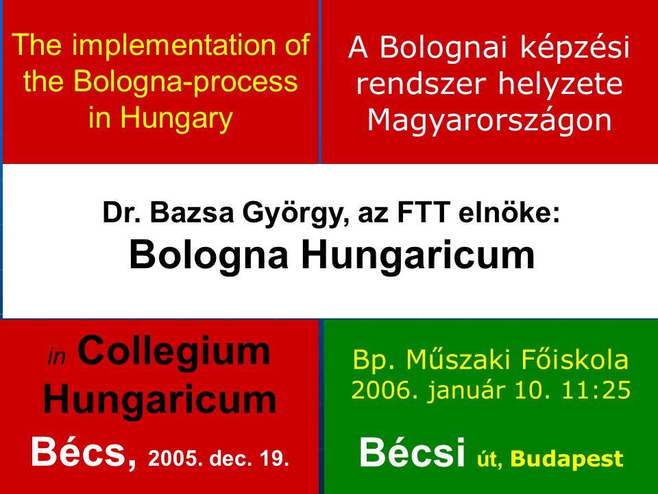 The implementation of the Bologna-process in Hungary Dr. Bazsa György, az FTT elnöke: Bologna Hungaricum in Collegium Hungaricum Bécs, 2005. dec. 19.
