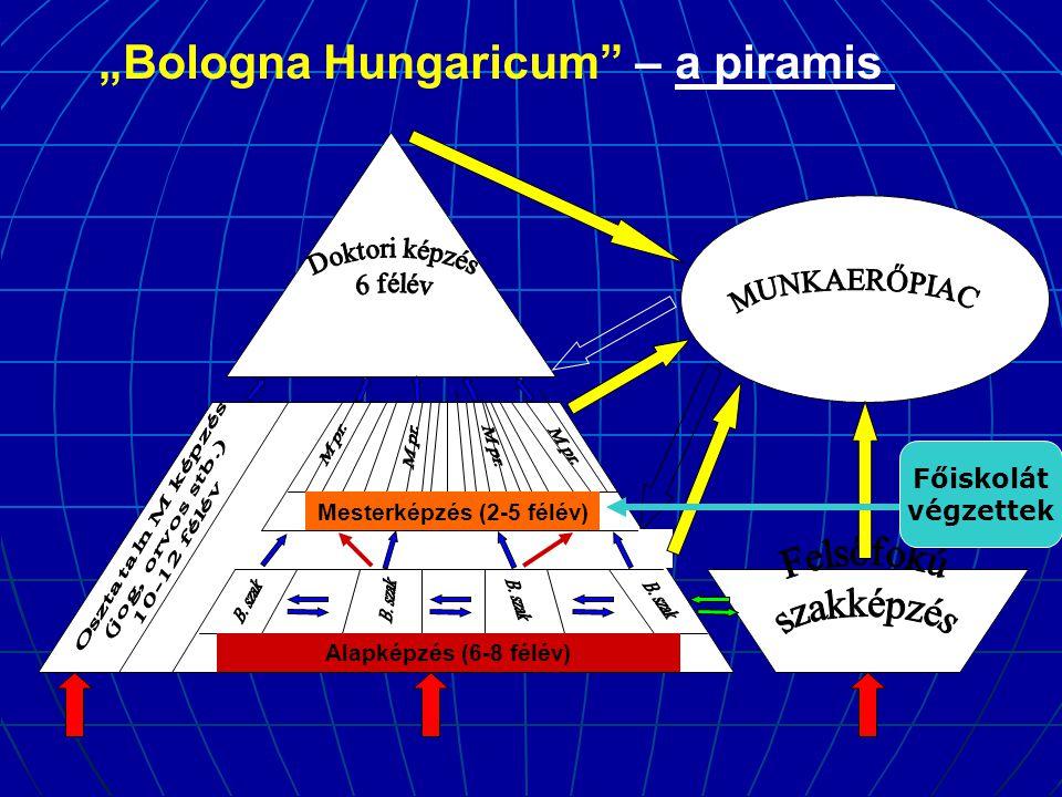 """Alapképzés (6-8 félév) Mesterképzés (2-5 félév) """"Bologna Hungaricum – a piramis Főiskolát végzettek"""