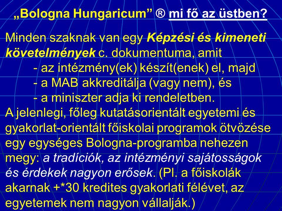 """""""Bologna Hungaricum"""" ® mi fő az üstben? Minden szaknak van egy Képzési és kimeneti követelmények c. dokumentuma, amit - az intézmény(ek) készít(enek)"""