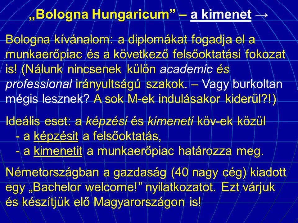 """""""Bologna Hungaricum – a kimenet → Bologna kívánalom: a diplomákat fogadja el a munkaerőpiac és a következő felsőoktatási fokozat is."""