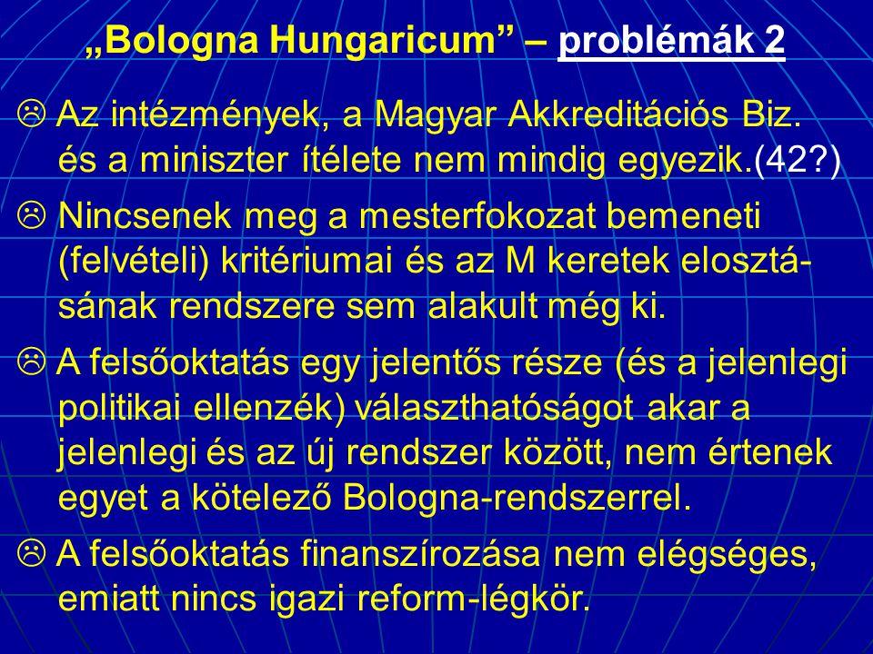 """""""Bologna Hungaricum"""" – problémák 2  Az intézmények, a Magyar Akkreditációs Biz. és a miniszter ítélete nem mindig egyezik.(42?)  Nincsenek meg a mes"""