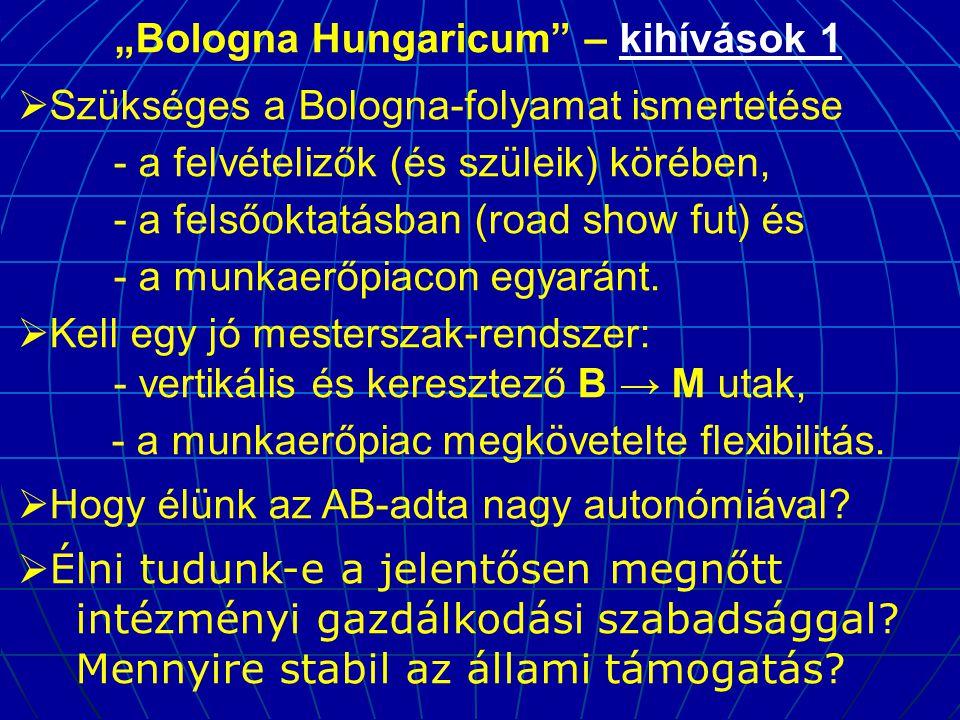 """""""Bologna Hungaricum – kihívások 1  Szükséges a Bologna-folyamat ismertetése - a felvételizők (és szüleik) körében, - a felsőoktatásban (road show fut) és - a munkaerőpiacon egyaránt."""