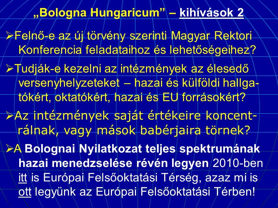 """""""Bologna Hungaricum"""" – kihívások 2  Felnő-e az új törvény szerinti Magyar Rektori Konferencia feladataihoz és lehetőségeihez?  Tudják-e kezelni az i"""