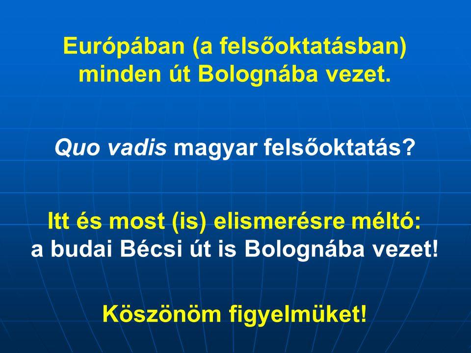 Európában (a felsőoktatásban) minden út Bolognába vezet. Quo vadis magyar felsőoktatás? Itt és most (is) elismerésre méltó: a budai Bécsi út is Bologn