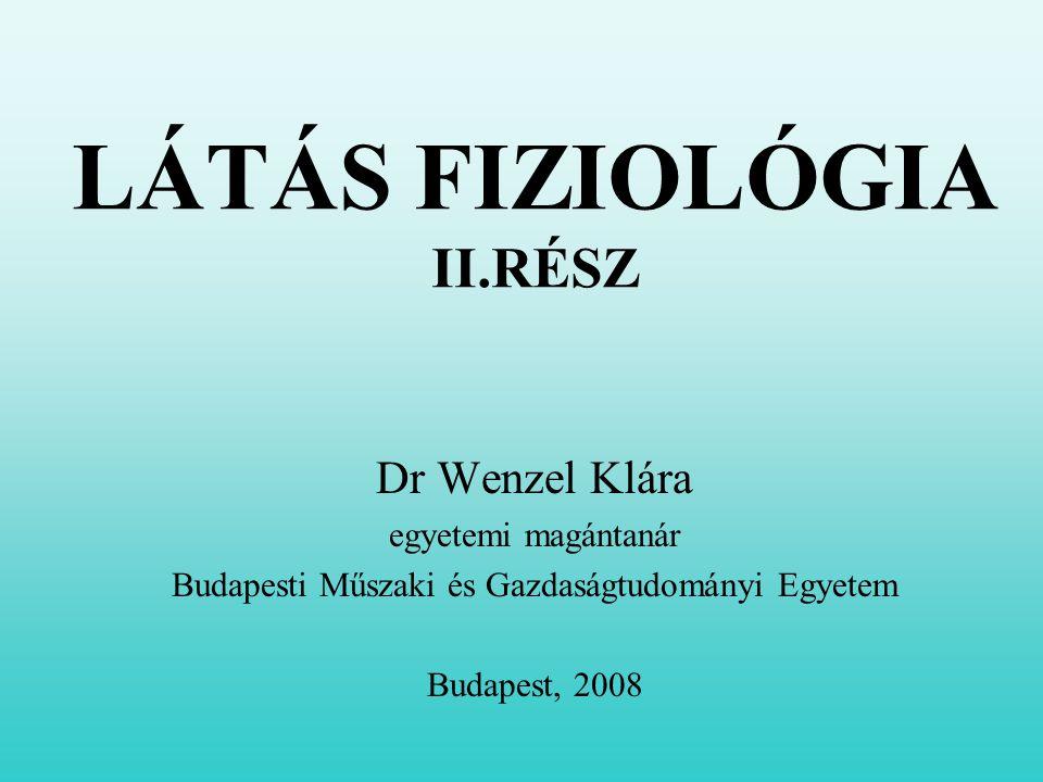LÁTÁS FIZIOLÓGIA II.RÉSZ Dr Wenzel Klára egyetemi magántanár Budapesti Műszaki és Gazdaságtudományi Egyetem Budapest, 2008