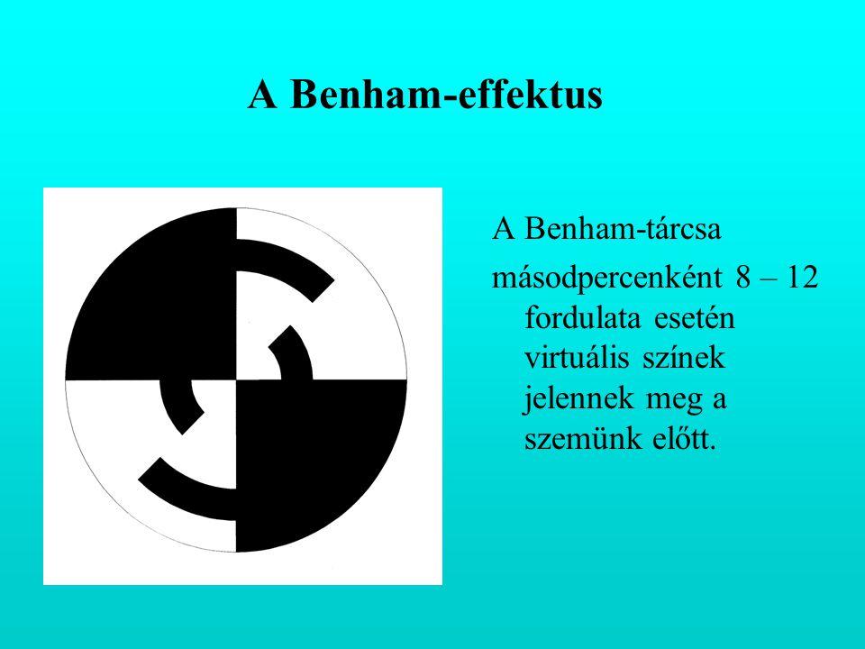 A Benham-effektus A Benham-tárcsa másodpercenként 8 – 12 fordulata esetén virtuális színek jelennek meg a szemünk előtt.