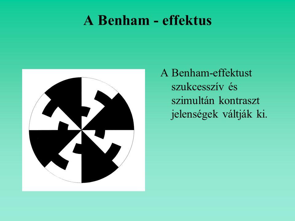 A Benham - effektus A Benham-effektust szukcesszív és szimultán kontraszt jelenségek váltják ki.