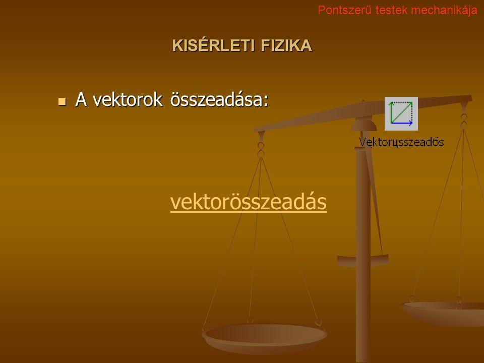 KISÉRLETI FIZIKA A vektorok összeadása: A vektorok összeadása: Pontszerű testek mechanikája vektorösszeadás