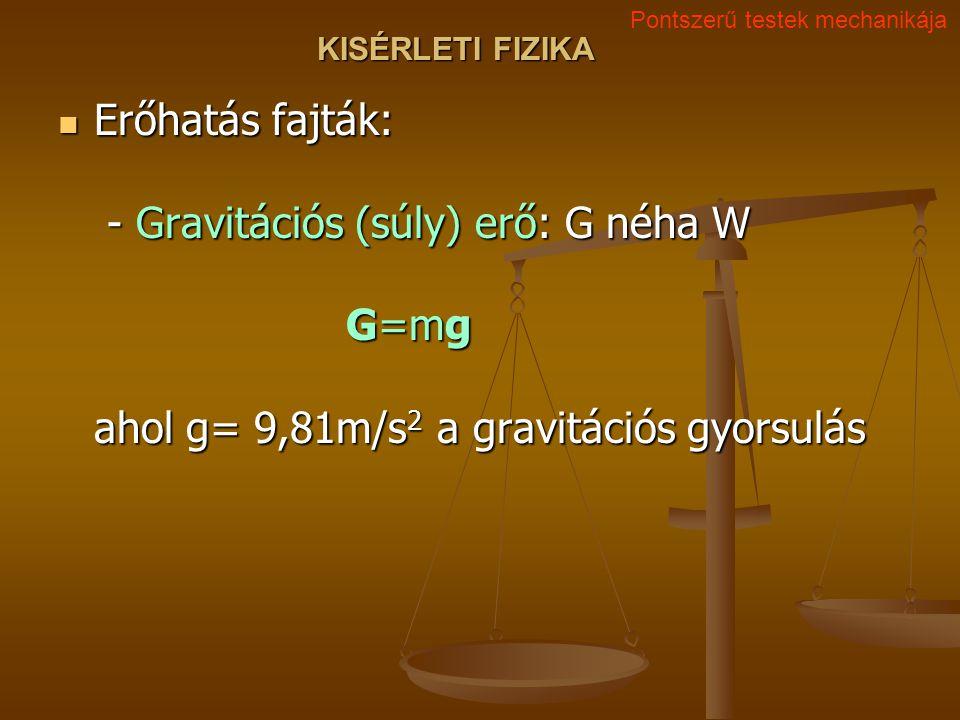 KISÉRLETI FIZIKA Erőhatás fajták: - Gravitációs (súly) erő: G néha W G=mg ahol g= 9,81m/s 2 a gravitációs gyorsulás Erőhatás fajták: - Gravitációs (súly) erő: G néha W G=mg ahol g= 9,81m/s 2 a gravitációs gyorsulás Pontszerű testek mechanikája