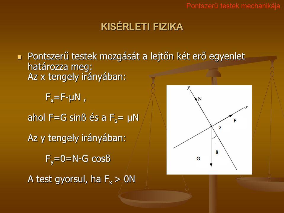 KISÉRLETI FIZIKA Pontszerű testek mozgását a lejtőn két erő egyenlet határozza meg: Az x tengely irányában: F x =F-μN, ahol F=G sinß és a F s = μN Az y tengely irányában: F y =0=N-G cosß A test gyorsul, ha F x > 0N Pontszerű testek mozgását a lejtőn két erő egyenlet határozza meg: Az x tengely irányában: F x =F-μN, ahol F=G sinß és a F s = μN Az y tengely irányában: F y =0=N-G cosß A test gyorsul, ha F x > 0N Pontszerű testek mechanikája