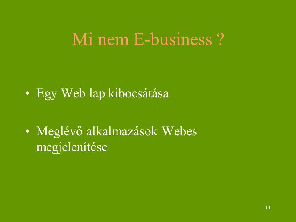 14 Mi nem E-business ? Egy Web lap kibocsátása Meglévő alkalmazások Webes megjelenítése