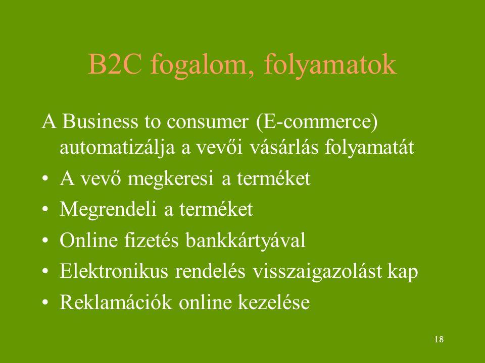 18 B2C fogalom, folyamatok A Business to consumer (E-commerce) automatizálja a vevői vásárlás folyamatát A vevő megkeresi a terméket Megrendeli a terméket Online fizetés bankkártyával Elektronikus rendelés visszaigazolást kap Reklamációk online kezelése