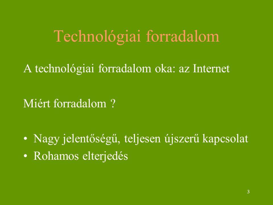 3 Technológiai forradalom A technológiai forradalom oka: az Internet Miért forradalom ? Nagy jelentőségű, teljesen újszerű kapcsolat Rohamos elterjedé