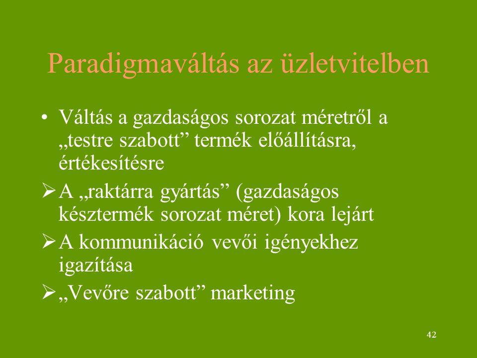 """42 Paradigmaváltás az üzletvitelben Váltás a gazdaságos sorozat méretről a """"testre szabott termék előállításra, értékesítésre  A """"raktárra gyártás (gazdaságos késztermék sorozat méret) kora lejárt  A kommunikáció vevői igényekhez igazítása  """"Vevőre szabott marketing"""