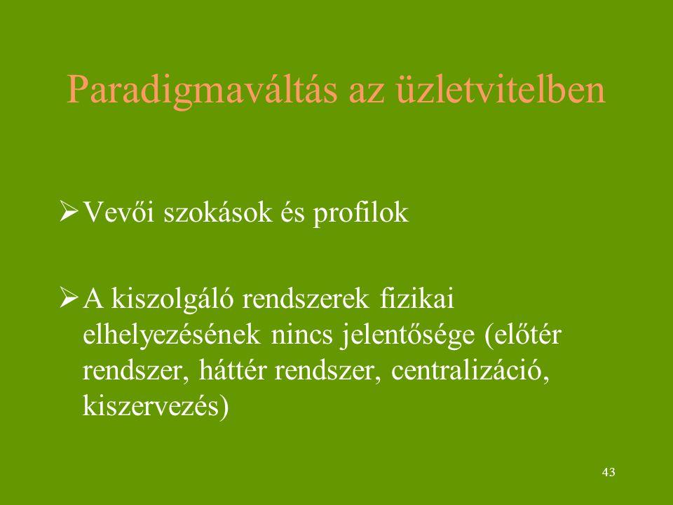 43 Paradigmaváltás az üzletvitelben  Vevői szokások és profilok  A kiszolgáló rendszerek fizikai elhelyezésének nincs jelentősége (előtér rendszer, háttér rendszer, centralizáció, kiszervezés)