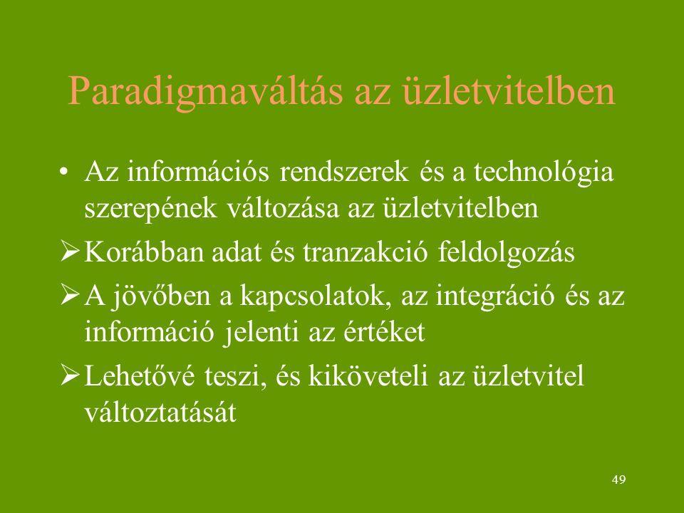 49 Paradigmaváltás az üzletvitelben Az információs rendszerek és a technológia szerepének változása az üzletvitelben  Korábban adat és tranzakció feldolgozás  A jövőben a kapcsolatok, az integráció és az információ jelenti az értéket  Lehetővé teszi, és kiköveteli az üzletvitel változtatását