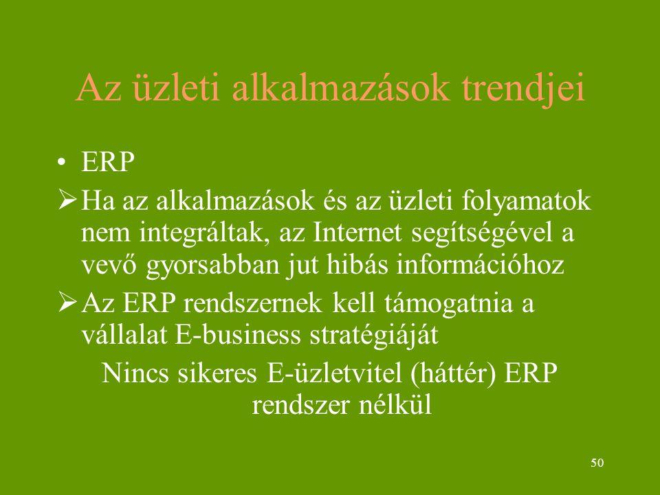 50 Az üzleti alkalmazások trendjei ERP  Ha az alkalmazások és az üzleti folyamatok nem integráltak, az Internet segítségével a vevő gyorsabban jut hibás információhoz  Az ERP rendszernek kell támogatnia a vállalat E-business stratégiáját Nincs sikeres E-üzletvitel (háttér) ERP rendszer nélkül