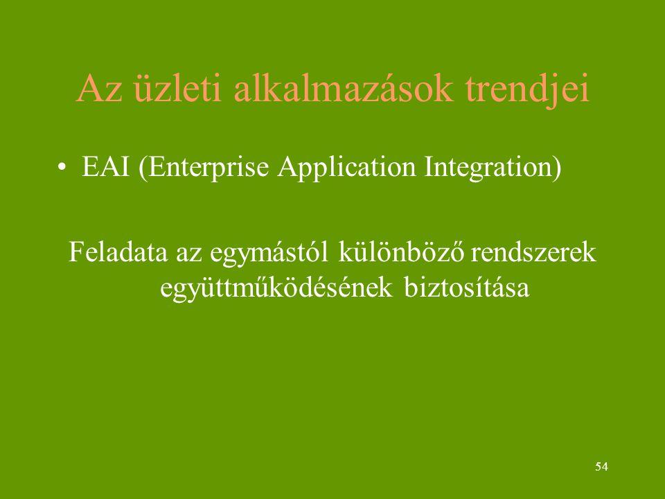 54 Az üzleti alkalmazások trendjei EAI (Enterprise Application Integration) Feladata az egymástól különböző rendszerek együttműködésének biztosítása