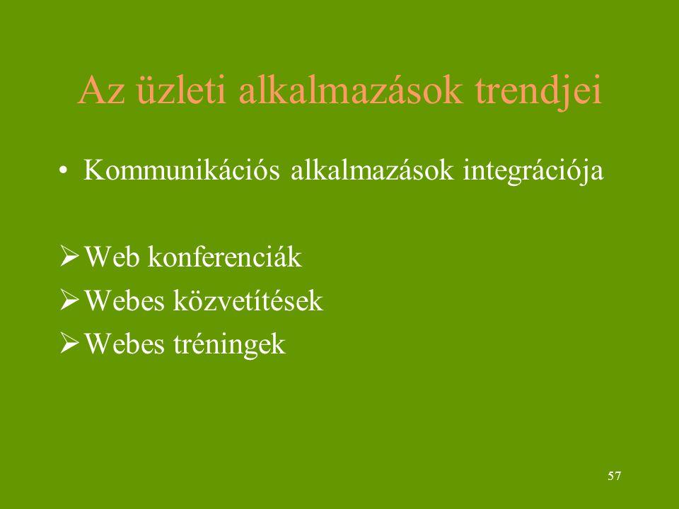 57 Az üzleti alkalmazások trendjei Kommunikációs alkalmazások integrációja  Web konferenciák  Webes közvetítések  Webes tréningek