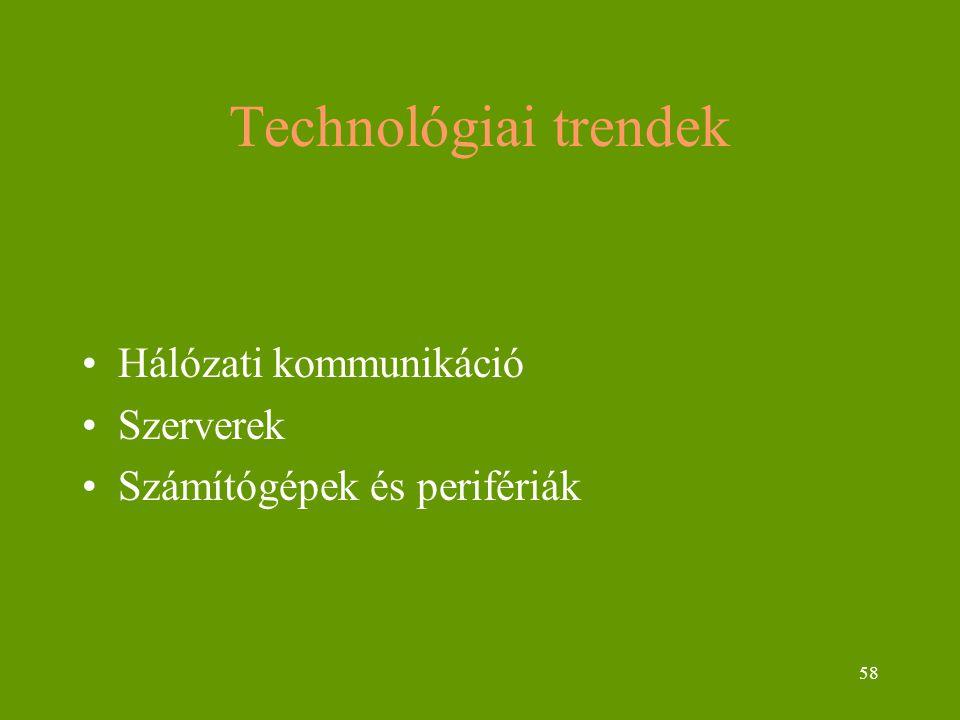 58 Technológiai trendek Hálózati kommunikáció Szerverek Számítógépek és perifériák
