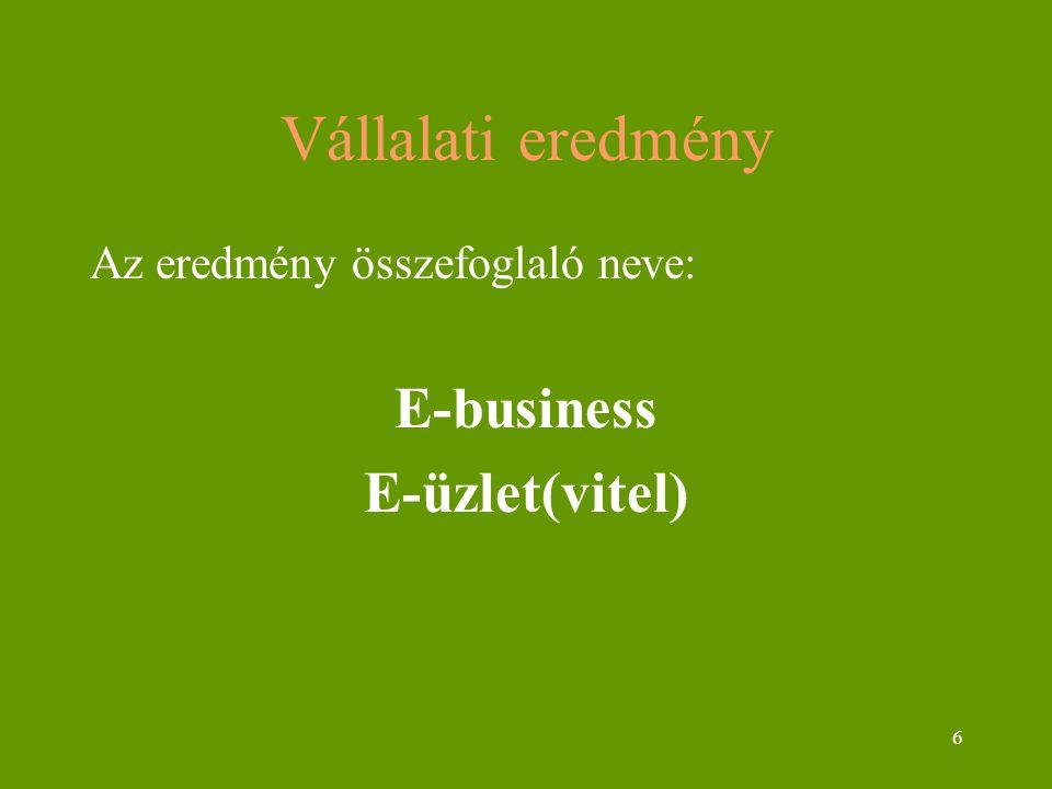 6 Vállalati eredmény Az eredmény összefoglaló neve: E-business E-üzlet(vitel)