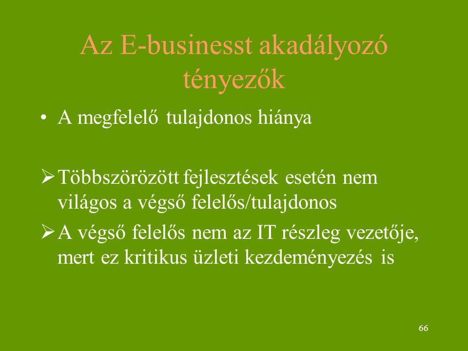 66 Az E-businesst akadályozó tényezők A megfelelő tulajdonos hiánya  Többszörözött fejlesztések esetén nem világos a végső felelős/tulajdonos  A végső felelős nem az IT részleg vezetője, mert ez kritikus üzleti kezdeményezés is