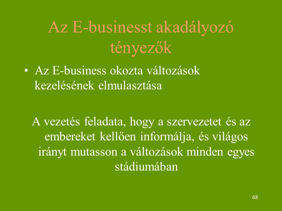 68 Az E-businesst akadályozó tényezők Az E-business okozta változások kezelésének elmulasztása A vezetés feladata, hogy a szervezetet és az embereket kellően informálja, és világos irányt mutasson a változások minden egyes stádiumában
