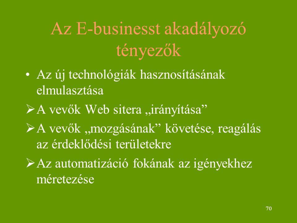 """70 Az E-businesst akadályozó tényezők Az új technológiák hasznosításának elmulasztása  A vevők Web sitera """"irányítása  A vevők """"mozgásának követése, reagálás az érdeklődési területekre  Az automatizáció fokának az igényekhez méretezése"""