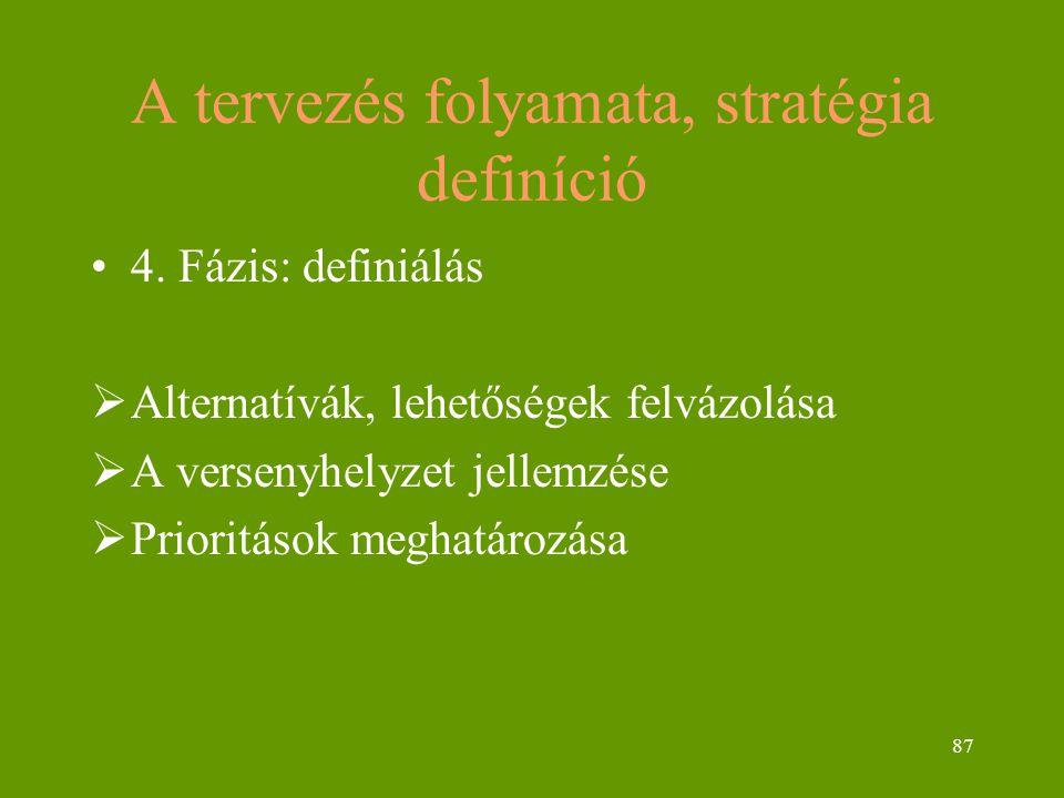 87 A tervezés folyamata, stratégia definíció 4. Fázis: definiálás  Alternatívák, lehetőségek felvázolása  A versenyhelyzet jellemzése  Prioritások