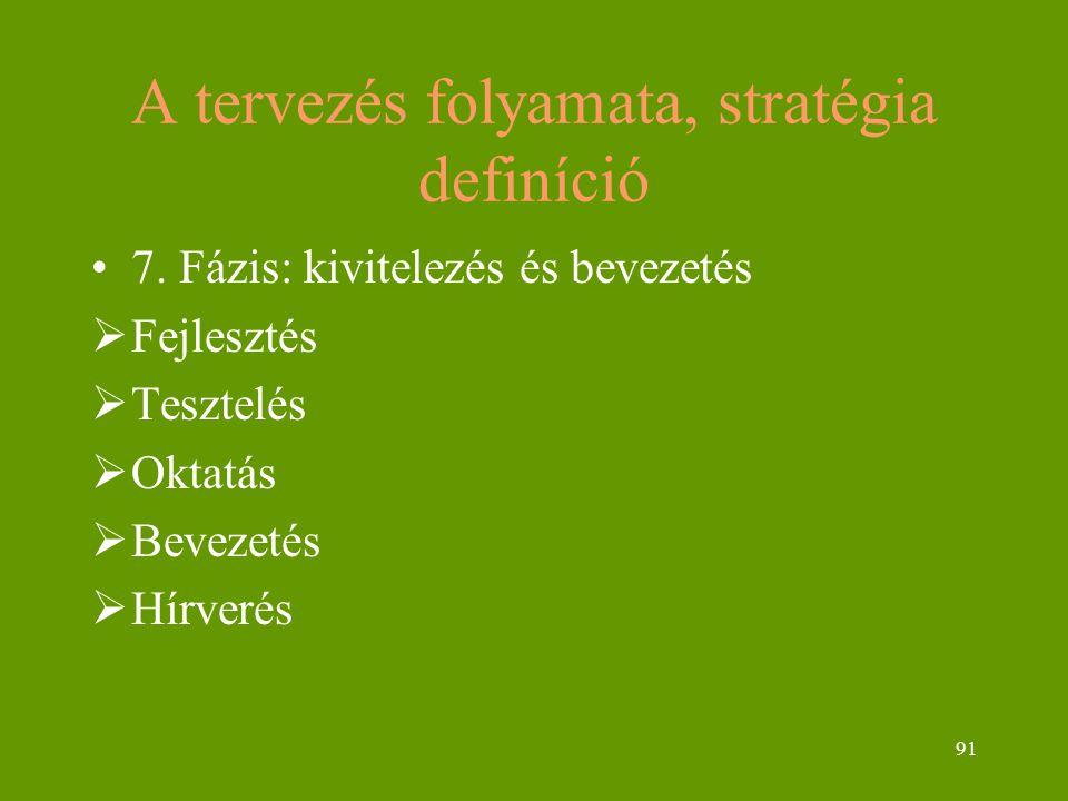 91 A tervezés folyamata, stratégia definíció 7.