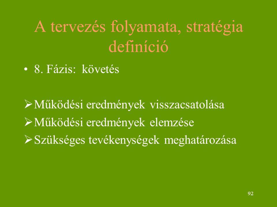 92 A tervezés folyamata, stratégia definíció 8. Fázis: követés  Működési eredmények visszacsatolása  Működési eredmények elemzése  Szükséges tevéke